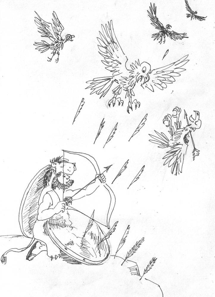Грек мифологиясы: Гераклдың ерліктері. Үшінші ерлік: Стимфалия құстары